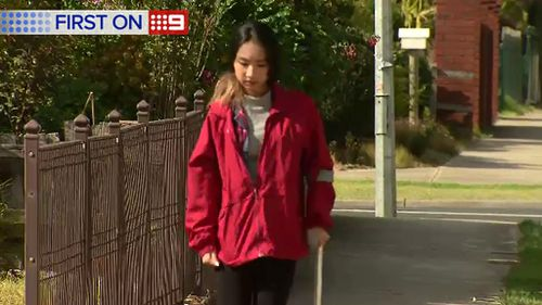 Jasmine Vuong has returned to the scene of the crash for the first time. (9NEWS)