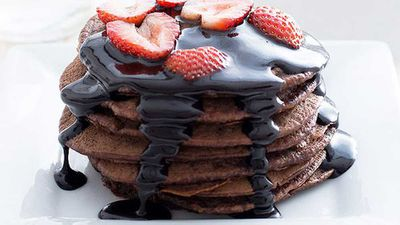 """Recipe: <a href=""""http://kitchen.nine.com.au/2016/05/05/13/17/vegan-chocolate-pikelets-with-chocolate-topping"""" target=""""_top"""">Vegan chocolate pikelets with chocolate topping</a>"""