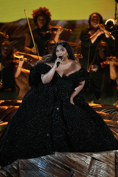 Lizzo performs onstage during the 62nd Annual Grammy Awards