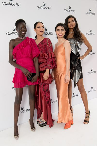 Adut Akech, George Maple, Isabella Manfredi and Kelly Gale at the Swarovski Rainbow Collection launch in Sydney.