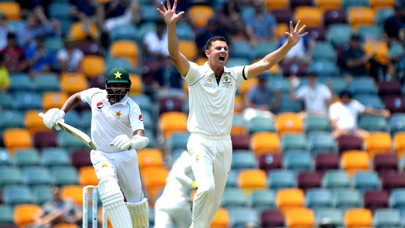 osh Hazlewood of Australia appeals to the umpire