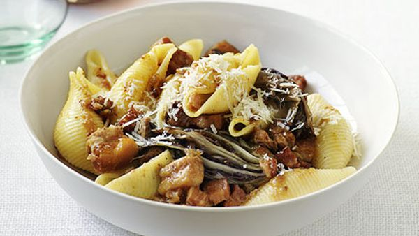 Conchiglie with braised pork belly and radicchio