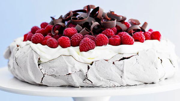 Chocolate pavlova with raspberries