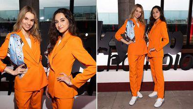 SkyUp Airlines new female cabin crew uniform by Ukrainian designer Gudu, featuring an orange pants suit and sneakers instead of heels