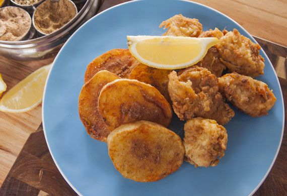 Anjum Anand's battered amritsari fish with smashed fried potatoes