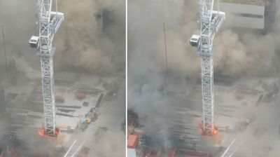 Jessica Crawford sent in these pics clearly showing the base of the crane on fire.