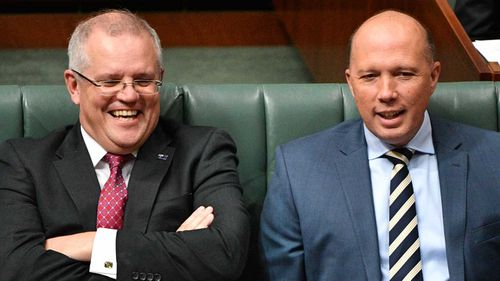 Mr Morrison and leadership contender Peter Dutton, who challenged Mr Turnbull for the top job.