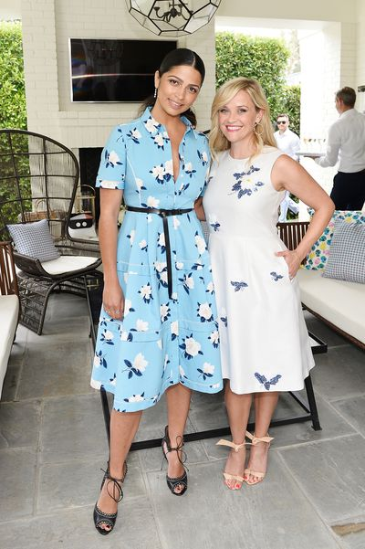 Camila Elves and Reese Witherspoon, both in Draper James.