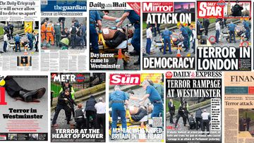 The front pages of London's  newspapers capture a city in morning. (AAP)