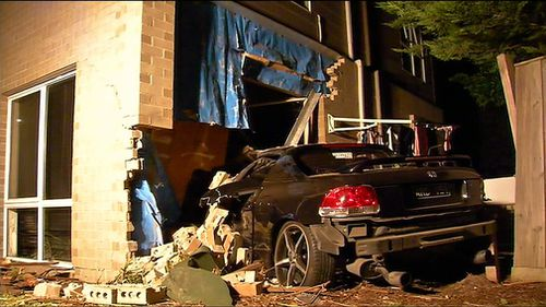 It's alleged the car was being driven erratically when it lost control and crashed into the Seaford home about 1.30am today.