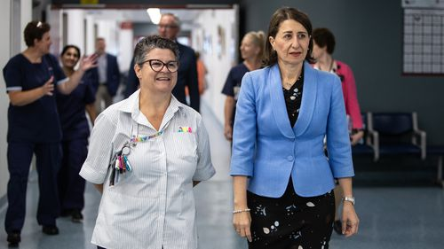 NSW Premier Gladys Berejiklian is seen during a visit of the Palliative Care Unit at Mt Druitt Hospital in Sydney.