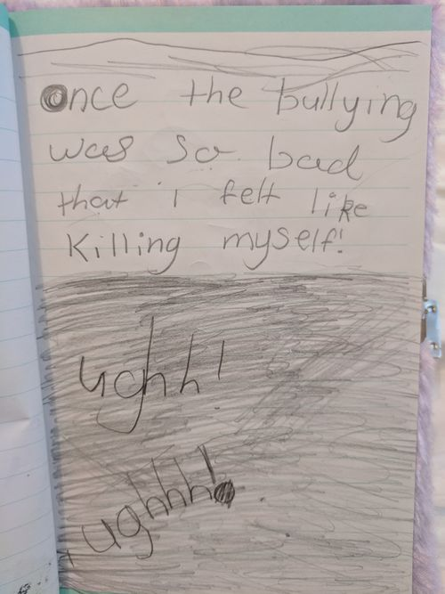 Briella turned to her diary to document her feelings and suicidal thoughts through words and drawings.