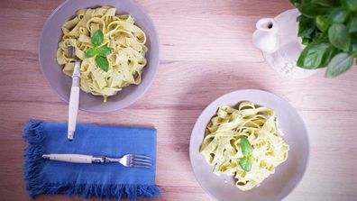 White bean pesto ads some extra legumes to dinner and is a great nut-free alternative