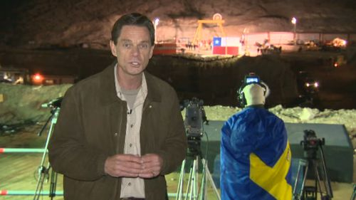 Penfold covering the rescue of 33 Chilean miners in 2010. (9NEWS)