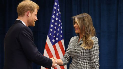 Prince Harry complimented Melania Trump on maintaining a busy schedule. (AFP)
