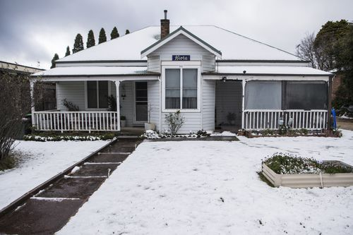 Snow falls in the Blue Mountains at Blackheath. Photo: Wolter Peeters/SMH