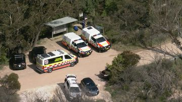 Emergency services at the entrance of the walking track in the Blue Mountains.