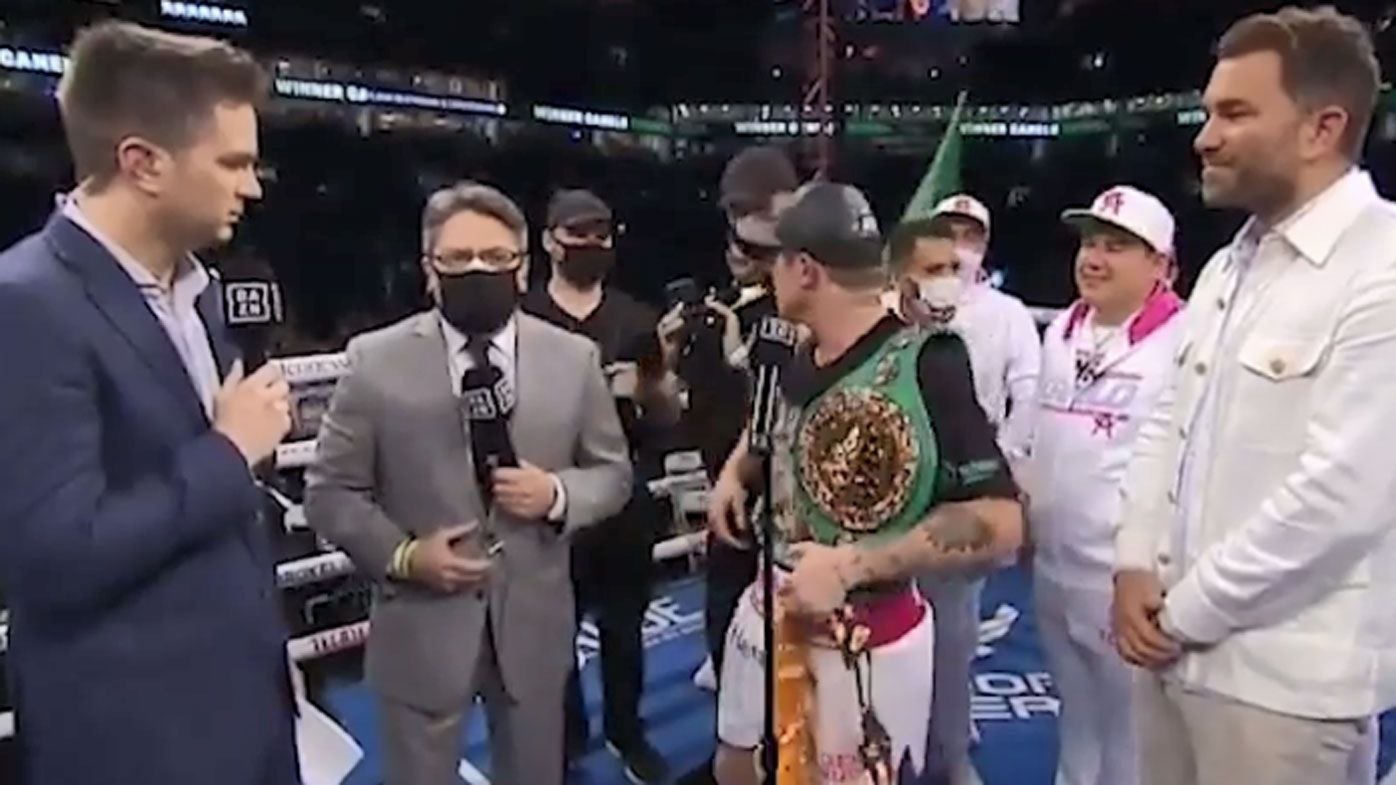 Annoyed Canelo Alvarez gets heated during post-fight interview following title defence