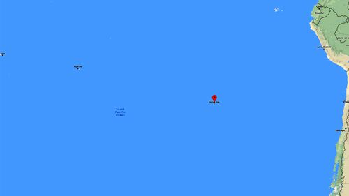 Easter Island, marked by a red tag, in between South America (far right) and Samoa (far left). (Google Maps)