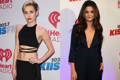 Wherever Miley goes, flesh will be flashed! And KIIS FM's annual Jingle Ball was no different... <br/><br/>But she wasnt the only one who get sexy for Santa! Check out sultry Selena Gomez's plunging jumpsuit and Ariana Grande's saucy stockings and skirt combo...<br/>