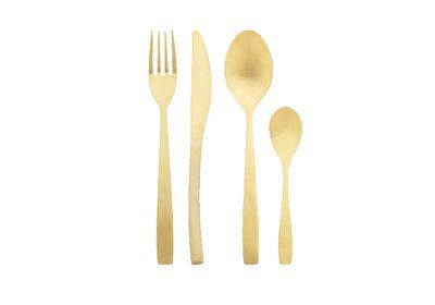 """<a href=""""http://www.freedom.com.au/homewares/tableware/cutlery/23527010/charm-16-piece-cutlery-set-gold-colour/"""" target=""""_blank"""">Charm 16 piece cutlery set in gold colour, $99, Freedom</a>"""