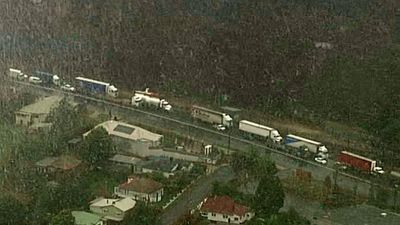 Trucks are backed up in traffic due to the Great Western Highway being closed. (Choppercam)