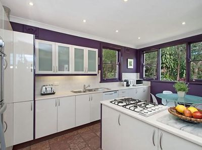 <strong>Before: a purple kitchen with slate floor</strong>