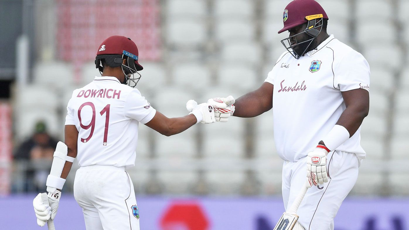 Shane Dowrich and Rahkeem Cornwall of West Indies