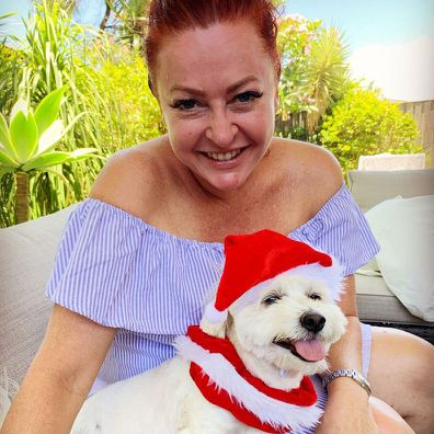 Shelly Horton with her dog at Christmas