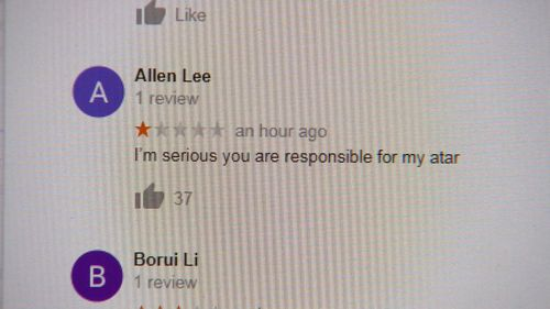 One of hundreds of bad reviews posted about Calmer Cafe this afternoon.