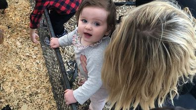 Eliza and Erin with farm animals