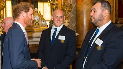 Moore and Wallabies coach Michael Cheika meet a bearded Prince Harry. (Getty)