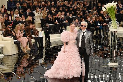 Lily-Rose Depp closed the Chanel show arm in arm with Karl Lagerfeld in a dreamy princess gown made up of frothy organza in ballet pink - Paris Haute Couture Spring Summer 2017.