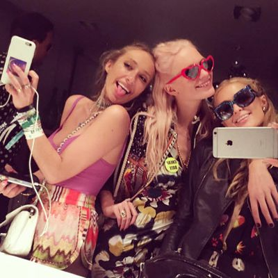 Paris Hilton is all about the blonde posse with Poppy Delevingne and actress Gaia Matisse