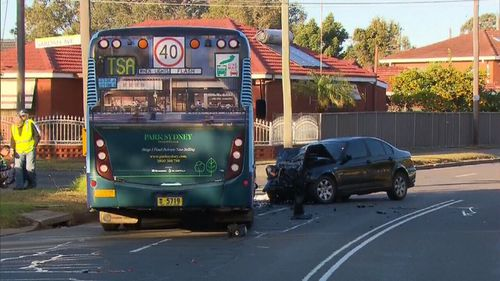 The driver of the bus is being treated for shock. Image: 9News
