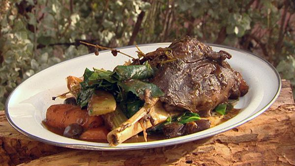 Braised wallaby shanks with wild thyme