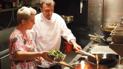 Chef David Thompson and food writer Jane de Graaff in the Long Chim Kitchen