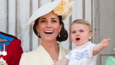 Prince Louis, Princess Charlotte and Catherine, Duchess of Cambridge appear on the balcony during Trooping The Colour, the Queen's annual birthday parade, on June 08, 2019 in London, England