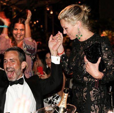 Designer Marc Jacobs celebrates Kate Moss' amfAR 'Inspiration Award' win
