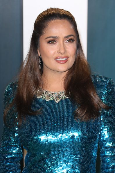 Salma Hayek attends the 2020 Vanity Fair Oscar Party at Wallis Annenberg Center for the Performing Arts on February 09, 2020 in Beverly Hills, California.