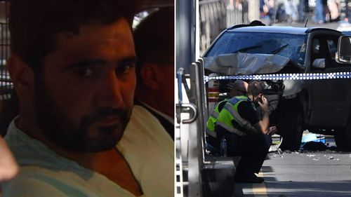 Saeed Noori, 32, accelerated into the Christmas shoppers and commuters on Flinders Street at around 4.40pm on December 21. (9NEWS/AAP)