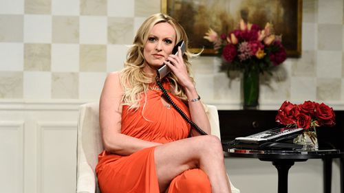 "Adult film actress Stormy Daniels during an appearance on ""Saturday Night Live"". (AP)"