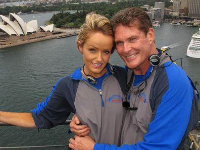 David Hasselhoff and wife Hayley Roberts climb Sydney Harbour Bridge