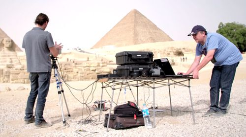 Members of the research team set up their thermal imaging equipment in Cairo.