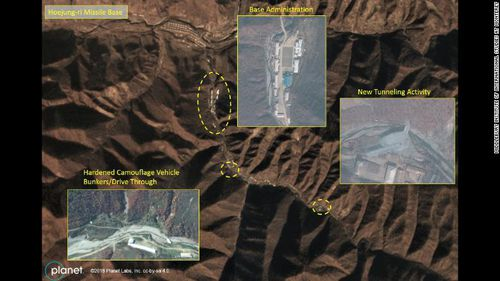 The satellite images show the base remains active.