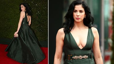 Comedienne Sarah Silverman on the Emmys red carpet. (Getty)