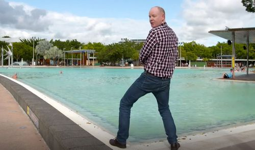He made fun of the Great Barrier Reef, the Cairns Esplanade Lagoon and the Zoom & Wildlife Dome in the piece, which has gotten Cairns residents a little angry. Picture: ABC.