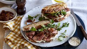 Curtis Stone's caramelised onion and cheddar steak sandwich