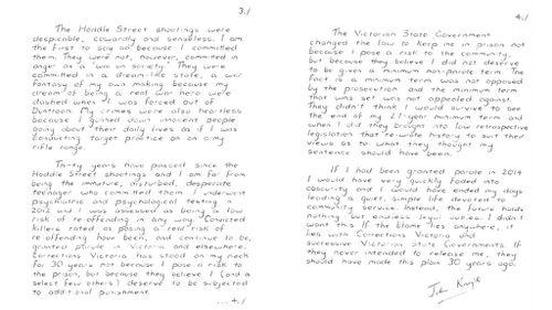 The letter written by Julian Knight from prison.