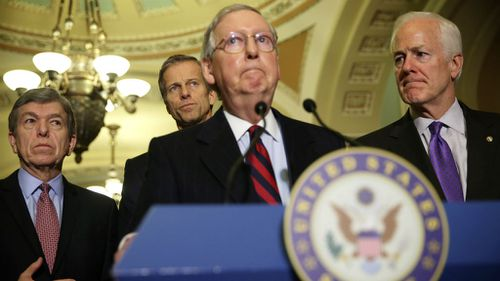 US Senate Minority Leader Mitch McConnell, Senate Minority Whip John Cornyn, Roy Blunt John Thune  respond to a report on CIA's use of torture. (Getty Images)